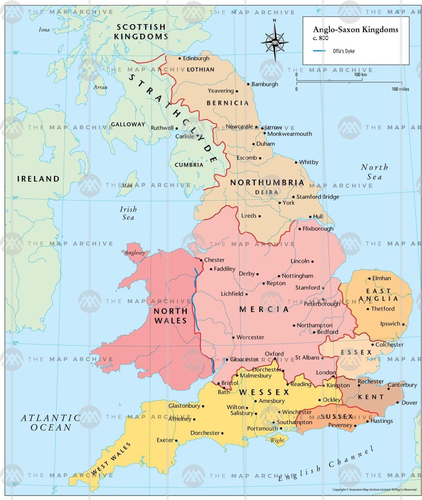 Гептархия - Англо-саксонские королевства - 800 год