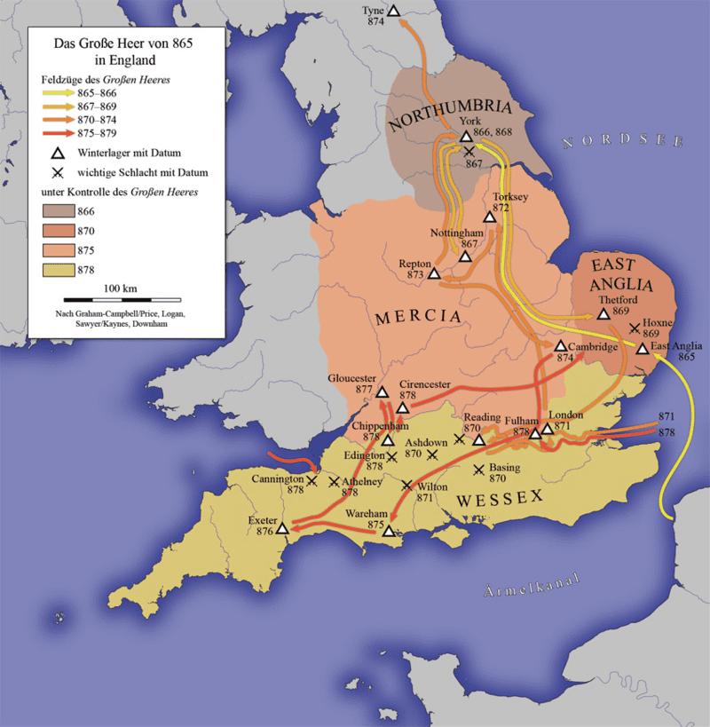 Вторжение в Англию великой армии датчан (викингов) - 865-879 годы