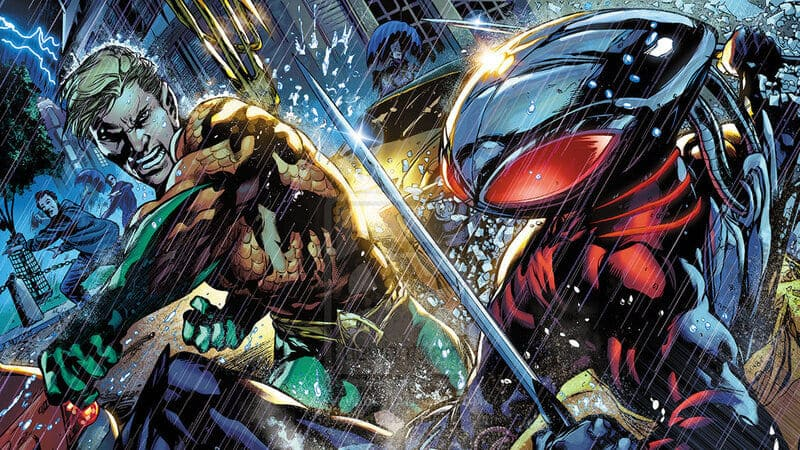 Аквамен сражается против Чёрной Манты